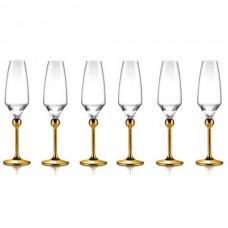 Бокалы для шампанского с золотым декором на ножках - 6 ед. от Цептер