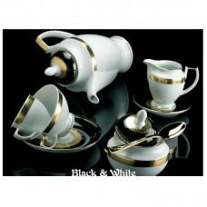 Блэк-энд-Уайт - кофейный сервиз на 6 персон (15 пр.) LPB6-KA - Black & White